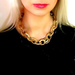 Matt Color Chain Choker Necklace Gold