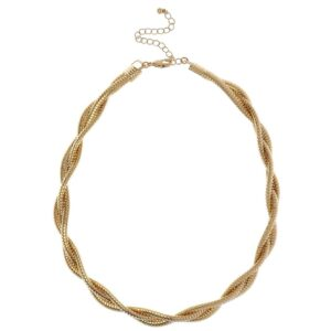 Choker Necklace with a Twist Gold